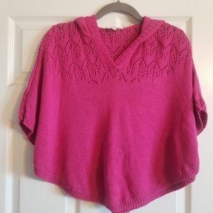 Girls Cute Pink Knit Poncho/Cape